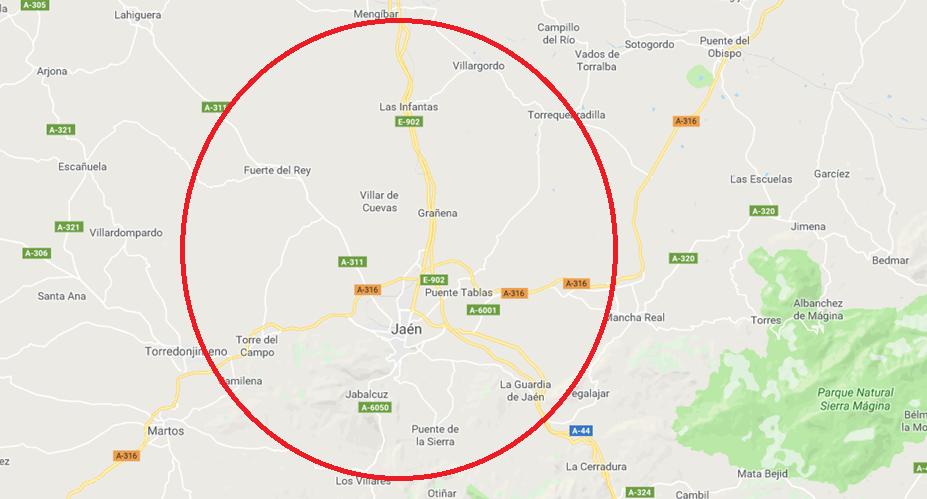 ubicación área de trabajo (alrededores de Jaén)
